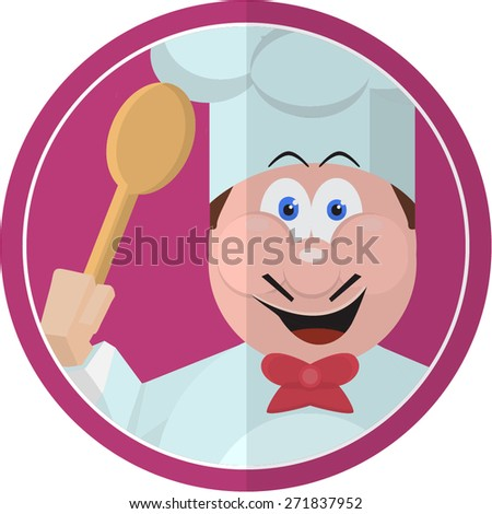Chef Sticker Restaurant - stock vector