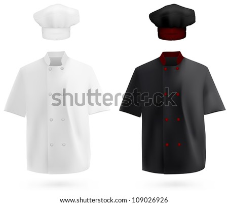 Chef uniform: shirt and hat - stock vector