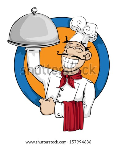 Chef with a huge plate of food logo, vector illustration - stock vector