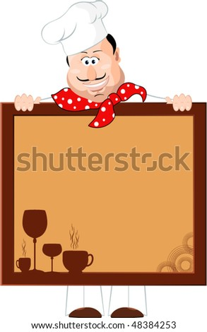 Chef with a Menu Board - stock vector