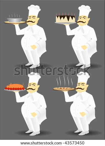Chef with big smile serving food - stock vector