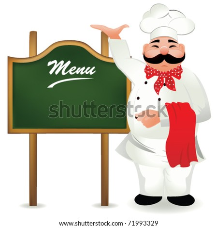 chef with board for menu - stock vector