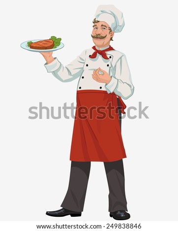 chef with cooked grill steak - stock vector