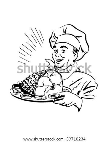 Chef With Ham - Retro Clip Art - stock vector