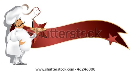 Chef with pizza and banner (in the gallery also available jpg image made from this vector) - stock vector