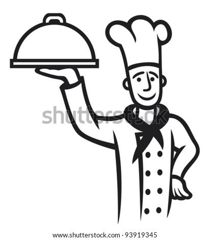 chef with plate (Chief cook) - stock vector