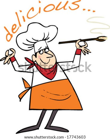 chef with soup - color - stock vector
