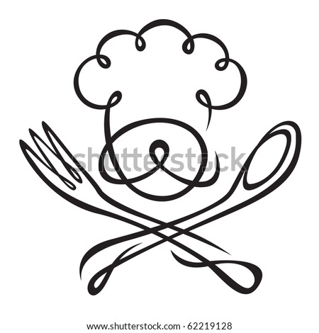 chef with spoon and fork - stock vector