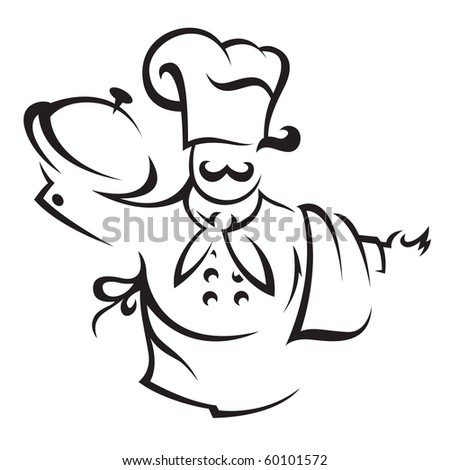 chef with tray of food in hand - stock vector