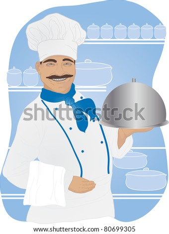 Chef with tray of food in hand on the background of the kitchen - stock vector