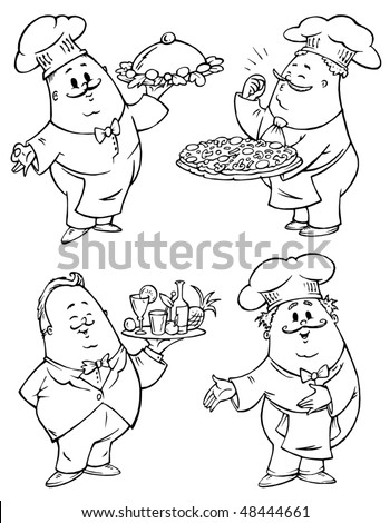 Chefs and Waiter Illustrations for Restaurants Menus - stock vector
