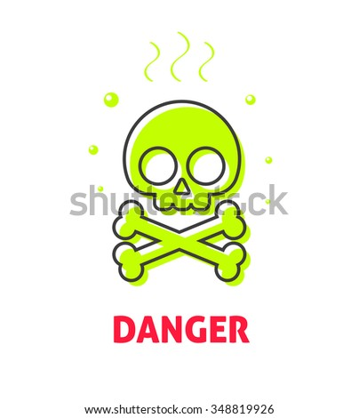 Chemical caution label, waste danger safety sign vector symbol, toxic trash hazard ribbon, warning, alert flat icon badge with skull crossbones, risk tag, logo concept illustration isolated on white - stock vector