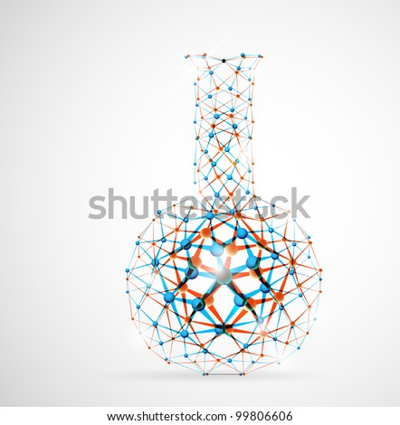 Chemical flask of the molecular structure. Eps 10 - stock vector