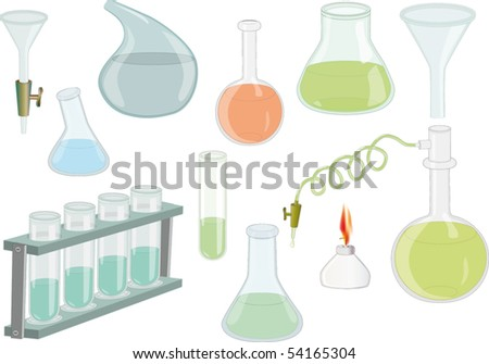 Chemical flasks for explore - stock vector