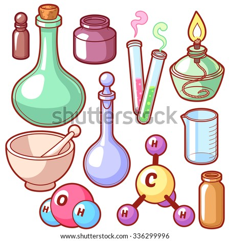 Chemical flasks. Isolated on a white background. - stock vector