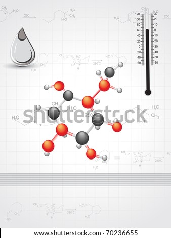 chemical formula background with drop, molecules and thermometer - stock vector