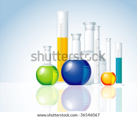 Chemical glass. Vector. - stock vector
