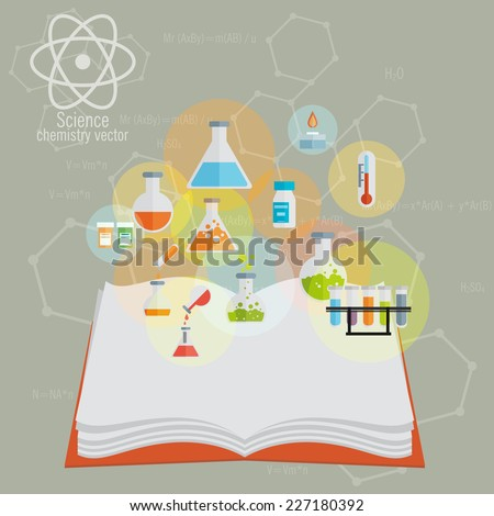 Chemical Icon set with open book and background - stock vector
