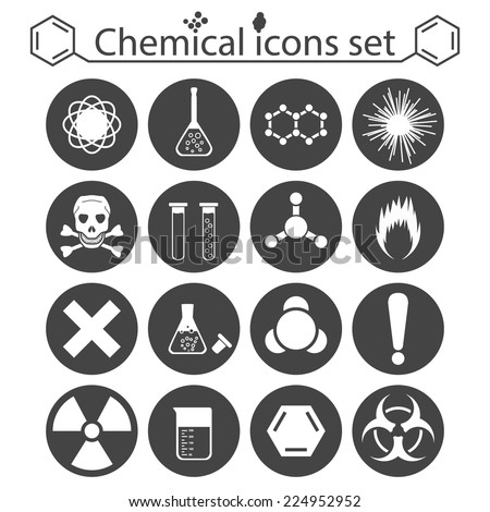 Chemical icons set on white background, 2d illustration, vector, esp 8 - stock vector