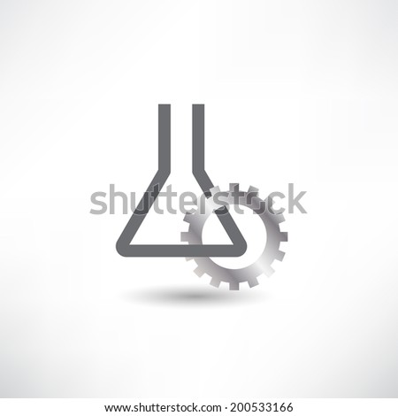 chemical industry. tube and gear. icon - stock vector