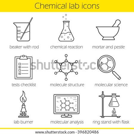 Chemical laboratory equipment linear icons set. Beaker with rod, chemical reaction, test checklist. Molecule structure, lab burner. Chemistry lab tools. Thin line. Isolated vector illustrations - stock vector