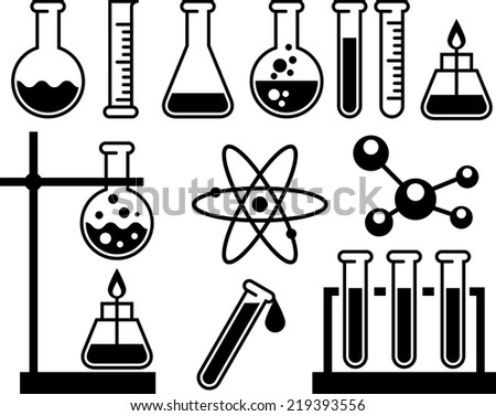 Chemical laboratory equipment - test tubes, flasks and measuring glass - stock vector