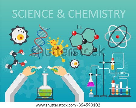 Chemical laboratory science and technology flat style design vector illustration. Scientists hands workplace concept.  - stock vector
