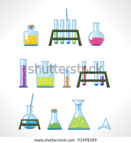Chemical laboratory. Set of tubes. - stock vector