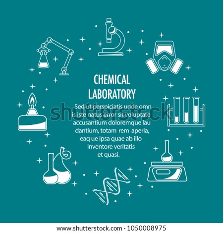 Chemical Laboratory Template Science Icons Composition Stock Vector ...