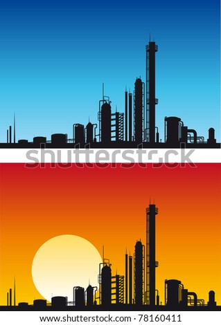 Chemical or gasoline factory for industrial design. Jpeg version also available in gallery - stock vector