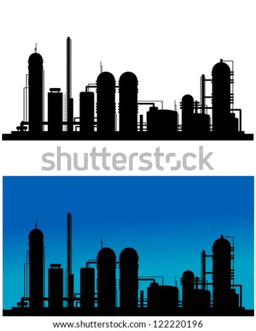 Chemical or refinery plant silhouette for industrial design. Jpeg version also available in gallery - stock vector
