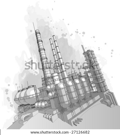 Chemical plant & watercolor background - stock vector