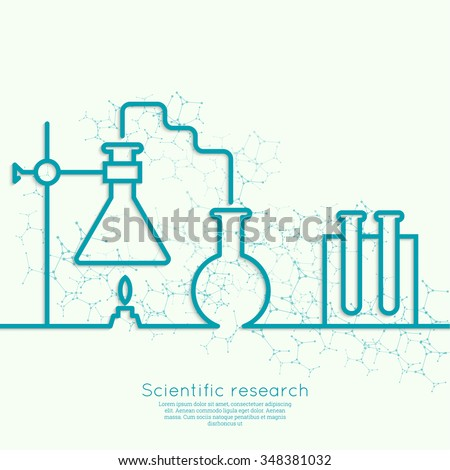 Chemical science research lab beakers, flasks and other equipment. Biological and scientific tests. discovery new technologies. minimal. Outline.