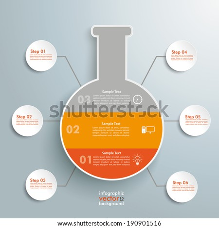 Chemical test tube infographic on the grey background. Eps 10 vector file. - stock vector