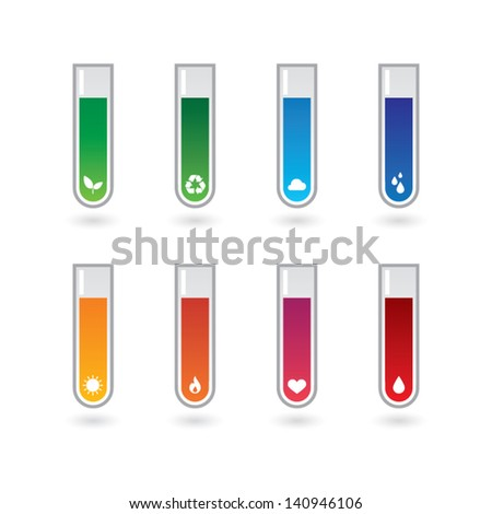 Chemical test tubes icon set - stock vector