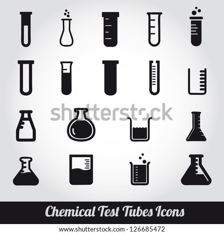 Chemical test tubes icons illustration vector - stock vector