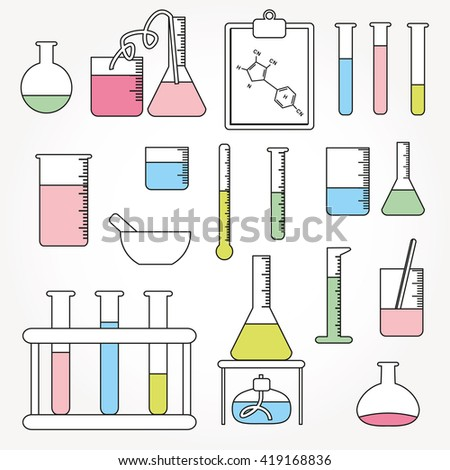 Chemical test tubes icons line illustration vector