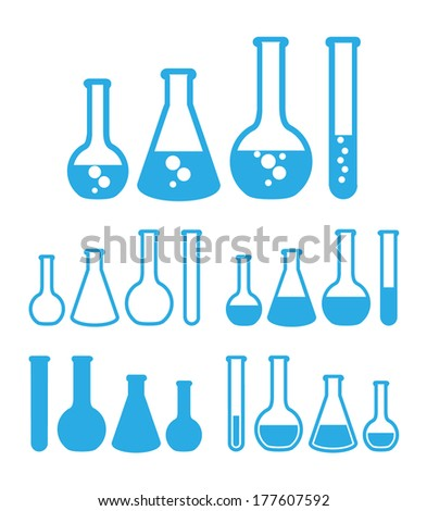 Chemical test tubes icons. Vector illustration. - stock vector