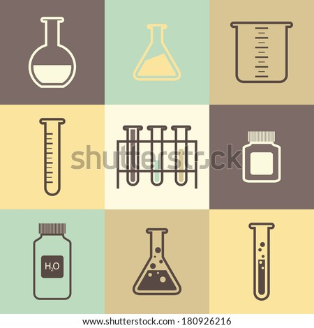 Chemical tubes icons set. Vector illustration - stock vector