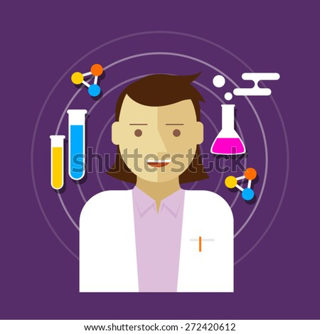 chemist scientist woman  lab vector illustration - stock vector
