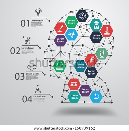 Chemistry and science icon education concept, with human head with an interface icons, Vector illustration modern design template, workflow layout, diagram, step up options - stock vector