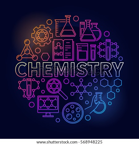 Chemistry Colorful Round Illustration Vector Thin Stock ...