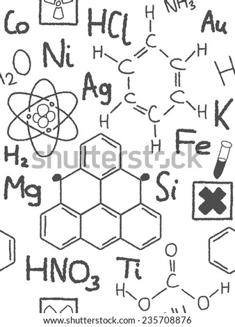 Chemistry doodle background texture - sketchy seamless illustration. - stock vector
