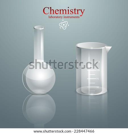 Chemistry. glass laboratory instruments. vector illustration - stock vector