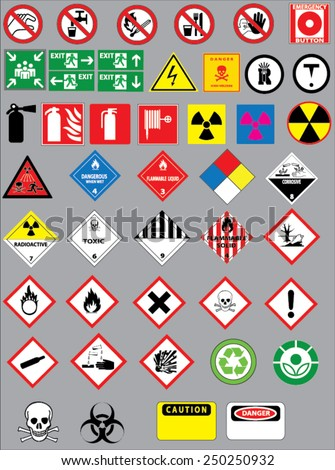 Chemistry hazard and warning symbols vector set - stock vector