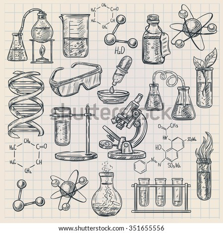 Chemistry icon in doodle style with burner flask dna structure and formulas of organic substances isolated vector illustration  - stock vector