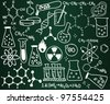 Chemistry icons and formulas on the school board - stock vector