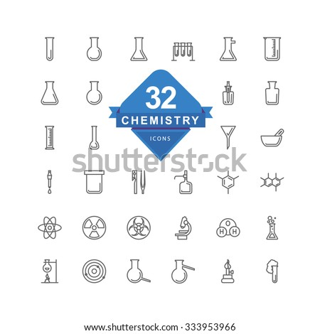 Chemistry Icons ( Line Icons ) - stock vector