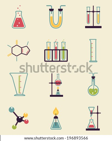 Chemistry icons. Research and Science simple icons - stock vector