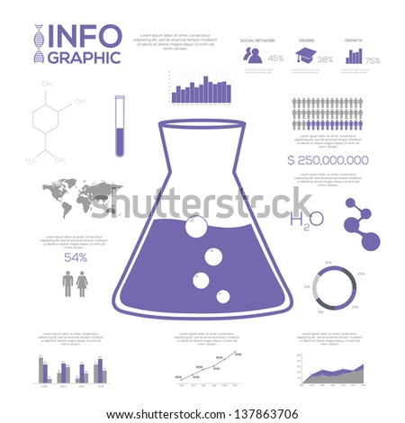 Chemistry Infographic collection, charts, symbols, graphic vector elements. - stock vector